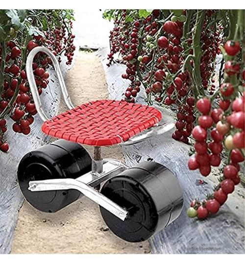 SKYWPOJU Trottinette roulante pour Chariot de Jardin avec siège Tabouret de Travail de Jardin avec Dossier à Main siège Coulissant agricole pour Le désherbage Jardinage Entretien Color : Red