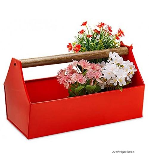 Relaxdays Jardinière avec poignée en Bois Fleurs Plantes et Herbes Boîte à Outils décorative en Fer 20 x 36 x 20 cm Rouge