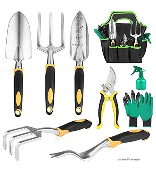 Batech Ensemble d'outils de jardin 3 pièces Kit de jardinage robuste en caoutchouc souple antidérapant Sac de rangement et sécateur gants râteau pelle et truelle