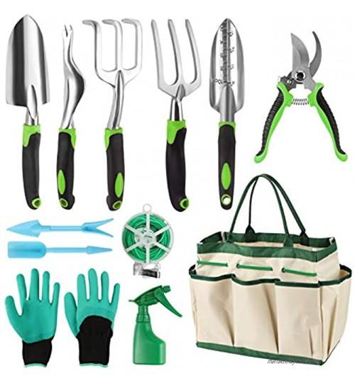 Migaven Ensemble de 12 outils de jardinage en acier inoxydable pelle râteau fourchette sécateur et gants Sac de rangement Kit cadeau de jardin pour homme et femme