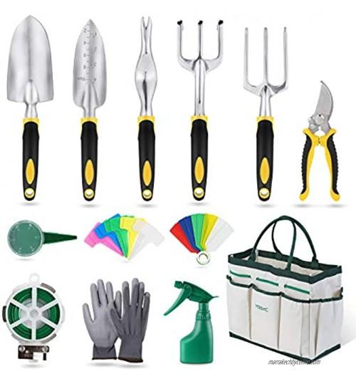 YISSVIC Outils de Jardinage 12 Pièces Outils de Jardin avec Sac de Rangement Arrosoir Gants de Jardinage
