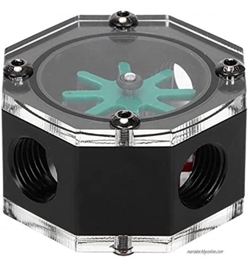 Débitmètre d'eau Transparent Acrylique Octogonal Métal Ordinateur Rhéomètre Refroidi à l'eau Noir