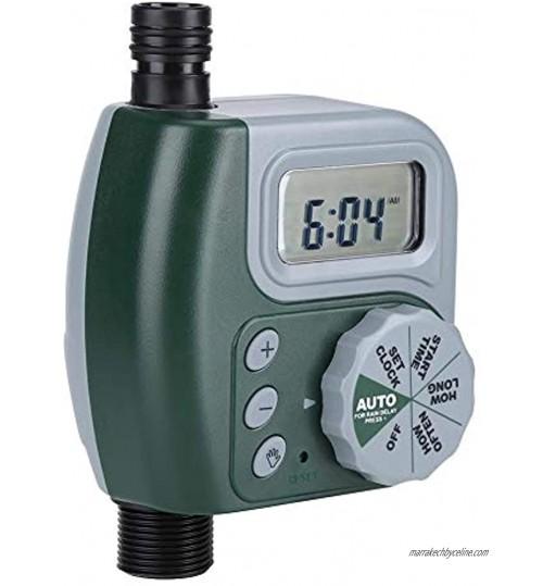 Mxzzand Minuterie d'arrosage minuterie d'eau Cadran de Configuration Unique Vert 2 Piles AA avec Connexion pour activités de Plein air pour Cour