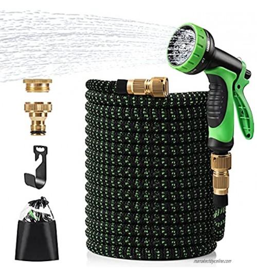 Diealles Shine 100FT Tuyau d'arrosage Extensible Tuyau d'arrosage Flexible de 30m Pistolet 8 Fonctions pour Irrigation et Nettoyage du Jardin Vert