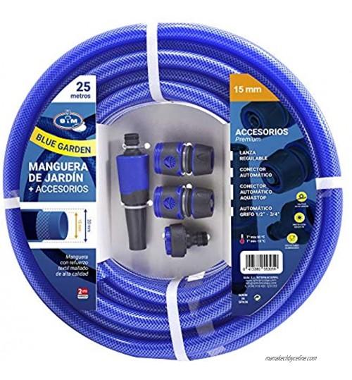 M&M's S&M 553059 553059 Tuyau Bleu renforcé Blue Garden avec Accessoires Lance d'arrosage et connecteurs Rouleau 25 m Ø 15 intérieur x Ø20 mm diamètre extérieur Anti-Torsion