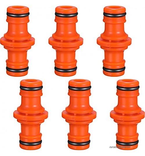 6 Pièces Double Connecteur de Tuyaux Mâles Raccords de Tuyaux pour Rejoignez le Tube de Tuyaux de Jardin Orange