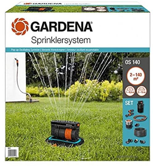 Kit Arroseur Oscillant Escamotable Os 140 de Gardena: Système d'Arrosage pour Surfaces Carrées et Rectangulaires jusqu'à 140 M² Installé au Niveau du Sol 8221-20
