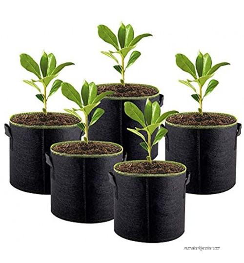 Sac de Croissance Plante Pots en Tissu 5 PCS Indoor Planter Fluorescence du Bord Vert Sacs pour Culture de Fleur Légumes Patate Premium Respirant Naturel Matériau Non-Tissé Renforcé … 10 Gallons