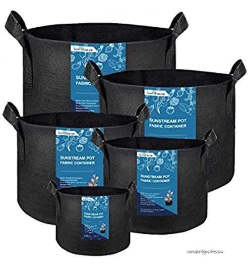 SunStream Lot de 5 sacs de plantation avec poignée en feutre pour tomates fleurs plantes Noir 19 l