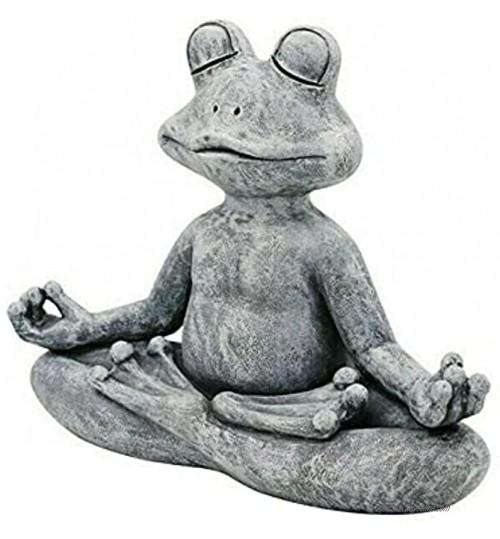Hjinyu Statue de Grenouille de Jardin Ornement d'Animaux Statue de Bouddha Grenouille de Méditation en Résine pour la Décoration de Jardin Cour Plein-air Gris