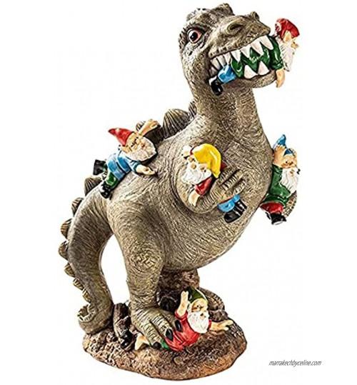 Le Massacre De Nain De Jardin Statue De Jardin De Gnomes Mangeurs De Dinosaure Statues De Nain Décor Extérieur Sculpture D'art De Jardin Pour Le Patio 15 * 8 * 6cm,A