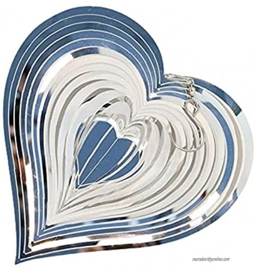 Carillons à Vent pour Extérieur en Forme de Coeur Carillon éoliens Rotatif en Métal Carillon à Vent en Acier Inoxydable Spirale Carillons à Vent pour La Décoration de Cour Intérieure et Extérieure