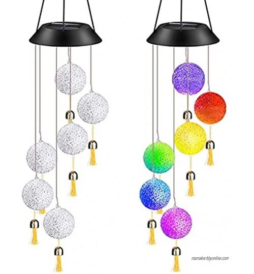 IWILCS Carillons éoliens solaires LED Lampe Carillon à Vent avec Cloches Carillons éoliens Décoration Lumière à Changement de Couleur Lumière Solaire Carillon de Vent pour Jardin