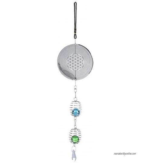 Qiterr 1 Pcs Mignons Carillons À Vent Metal Musique Spirale Cristal Boule De Vent Carillon pour Décoration Nordique Intérieur Et ExtérieurB
