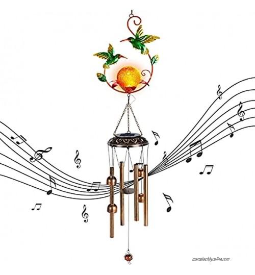 TASINUO Solaires Carillons Éoliens pour Jardin Etanches Carillon a Vent Extérieur Décoratifs avec Métal Colibri Tubes Cloches Boule de Verre Craquelé Blanc Chaud Cadeaux pour Maman Femme