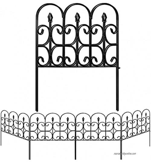 Amagabeli 81CM X 61CM X 5PCS Clôture Décorative Métal pour Jardin Motif Paysage et Barrière Barriere de Jardin NOI 5 Panneaux Extérieurs Gazon Parterre