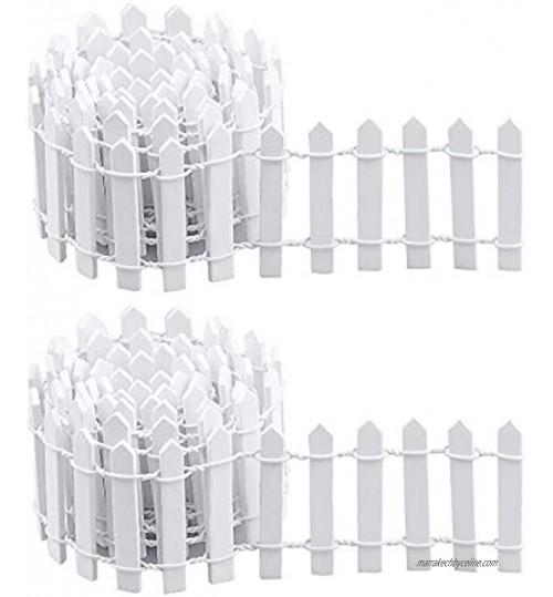 TDDL 2PCS Mini Clôture Jardin 90 cm*5cmClôture Jardin Miniature en Bois pour Fées Jardin Terrarium Maison Poupées Accessoires Décoration Blanc