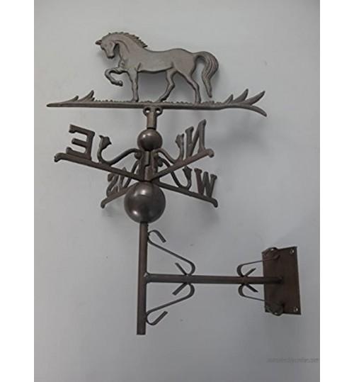 Girouette cheval marron Montage mural Girouette Coq en métal Drapeaux Fer Forgé Météo Fonte Vent Direction Tableau d'Affichage haras onglet Clapier