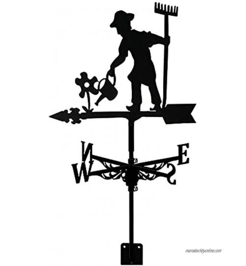 Girouette en Métal Rétro Maison Girouette Toit Extérieur Outil De Mesure du Vent Jardin Décor De Jardin Girouette Cour Indiquant La Direction du Vent Fleur Et Agriculteur