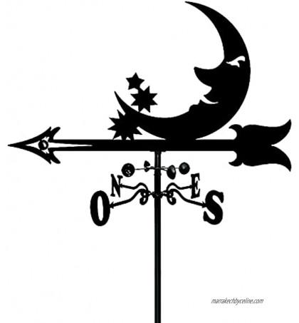 Girouette Lune Montage sur Toit en métal Girouette Indicateur de Direction du Vent Outil de Mesure de girouette en Acier Inoxydable 35 * 50 CM pour la décoration d'ornement de Jardin Patio