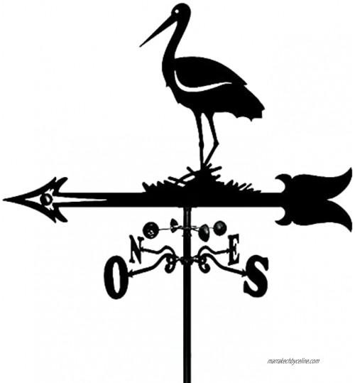 JJDSN Décoration de Cour Girouette Sculptures de Cigogne Outil de Mesure Girouette en Acier Inoxydable Indicateur de Direction de girouette pour Jardin Patio Ornement de Cour