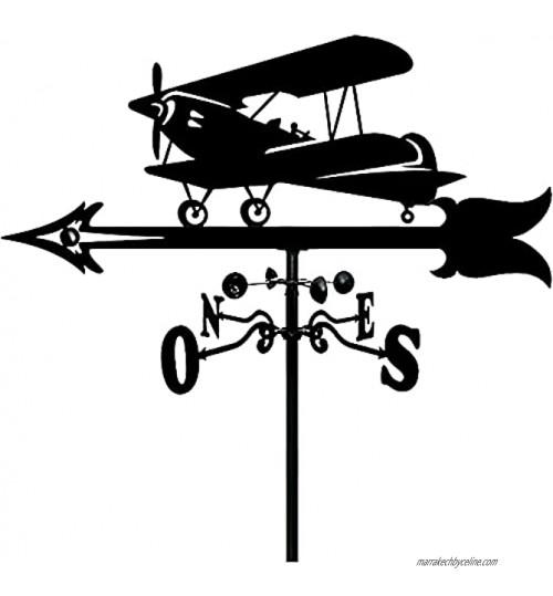 QDCZDQ Métal Avion girouette Vent indicateur de Direction girouette Design rétro girouette en Acier Inoxydable pour Ferme Toit Jardin décoration