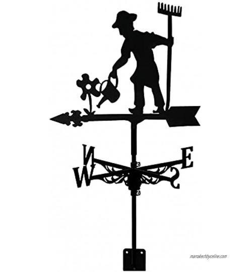 ZOSUO Girouette Agriculteur Métal Acier Inoxydable avec Fixation sur Le Toit Indicateur de Direction du Vent Décorations de Jardin pour Extérieur Ferme Vent Mesure Outil