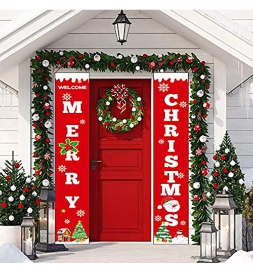 Sayala Bannière de Noël 2 Pcs Bienvenue Joyeux Noël Porche Signe Bannière Porte Décor De Noël Rouge Bannières Suspendues pour La Maison Mur Porte Partie Appartement