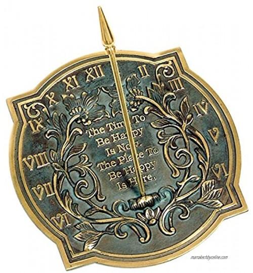 Ancien NAUTICALS Cadran solaire Bonheur Laiton massif avec reflets verdigris Diamètre 25,4 cm