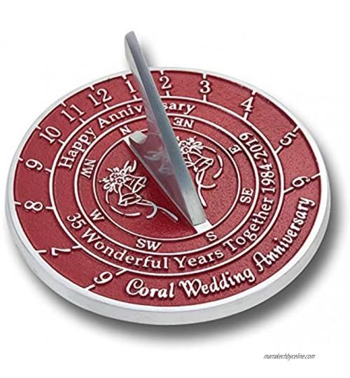 Le Cadran Solaire en métal Foundry 35e Anniversaire de Mariage est Un Excellent Cadeau pour Lui pour Elle ou pour Un Couple pour célébrer 35 Ans de Mariage. Personalized Text Red