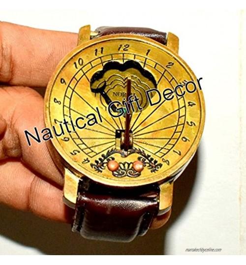 Montre bracelet en laiton massif avec cadran solaire boussole et boussole cadeau 00710