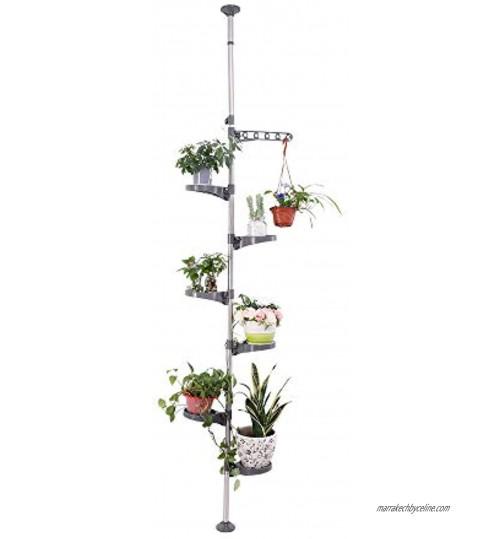 BAOYOUNI 7 Niveaux Support de Pot Fleurs Téléscopique en Métal Porte Plante Présentoire Réglable en Hauteur pour Intérieur Salon Chambre Bureau Balcon Décorative Gris(6 Plateaux et 1 Crochet)
