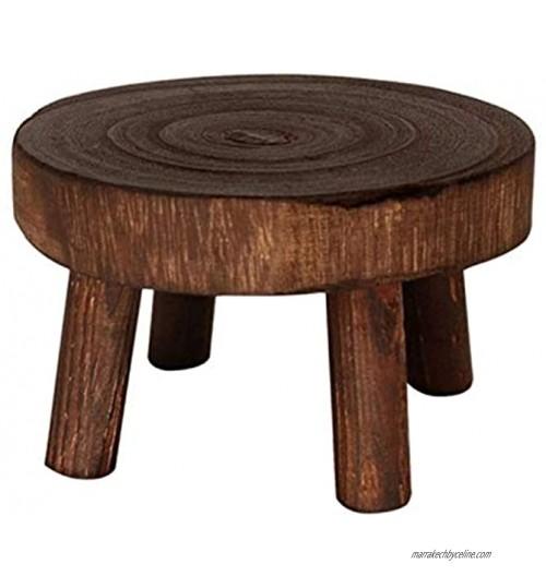Support de Plante Petit support rond en bois pour pot de fleurs Pour intérieur ou extérieur Mini présentoir de tabouret en bois Décoration de salle à manger de bureau S,Marron foncé