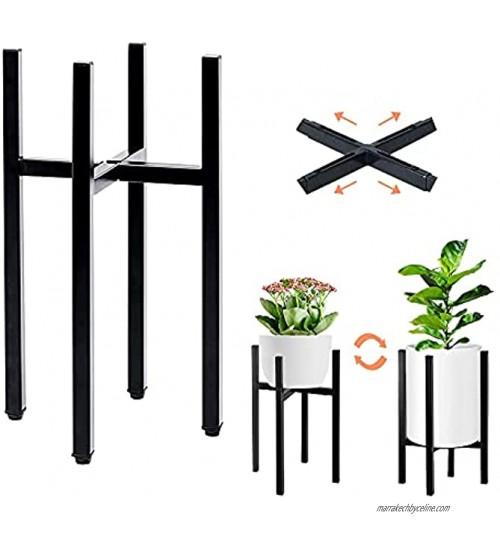 Support de Pot de Fleurs Support de Plantes en Métal avec Largeur réglable pour Pot de 20,5-28,5 cm Support pour Pot de Fleurs Moderne pour intérieur et extérieur Noir Pot & Plante Non Inclus