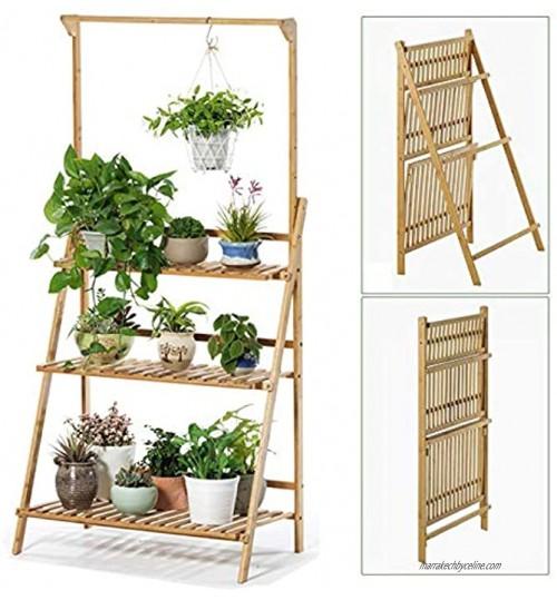 Weychen bambou 3 niveaux suspendu plant stand planter étagères fleur pot organisateur de stockage rack pliage affichage étagères plantes étagère unité titulaire