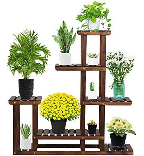 Yaheetech Étagère à Fleurs en Bois Porte Pots de Plante avec 7 Tablettes Escalier Présentoire de Jardin Balcon Terrasse Salon 97 x 25 x 96 cm