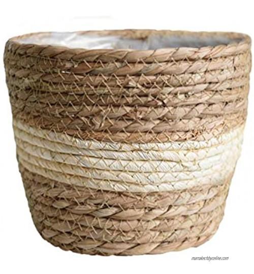 Meiyum Panier de jardinière en jonc de mer pour intérieur ou extérieur Beige 18 cm