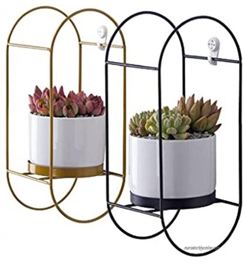 Pots de fleurs à suspendre Jeu de jardinière à suspension intérieure de 2 cintres en métal avec pots en céramique Planteurs modernes simples planteurs suspendues pour plantes intérieures NON Plante i