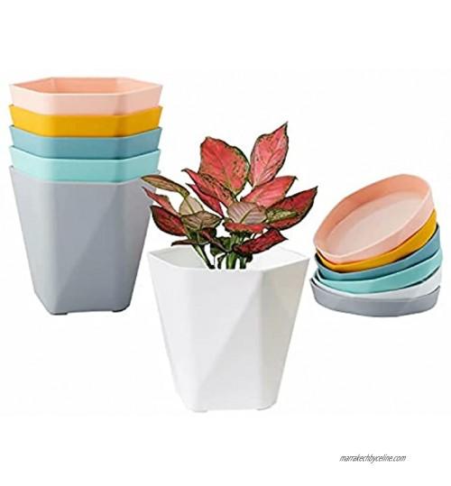17cm Pots de Plantes avec Plateaux en Plastique Pots de Fleurs d'intérieur avec Soucoupe Multi