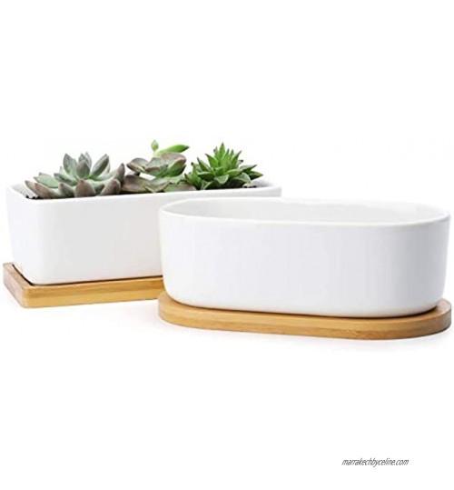 MMBOX Lot de 2 pots de fleurs rectangulaires en céramique de 15,2 cm petits pots de cactus bonsaï pots de fleurs avec trou de drainage plateau en bambou blanc 15,2 cm lot de 2