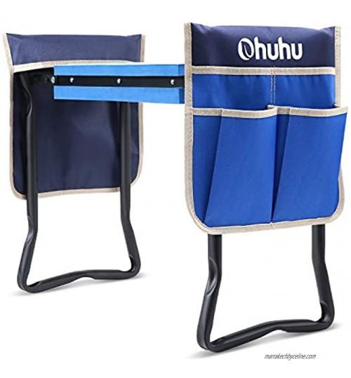 Ohuhu Repose-genoux et siège avec coussin épais et large et 2 grandes poches à outils tabouret de jardin pliable amélioré cadeau idéal pour les parents les personnes âgées les jardiniers